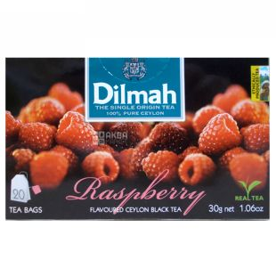 Dilmah, Black Tea, Raspberry, 20 pak., M / s