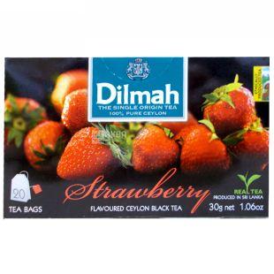 Dilmah, Strawberry, 20 пак., Чай  Дилма, Клубника, черный
