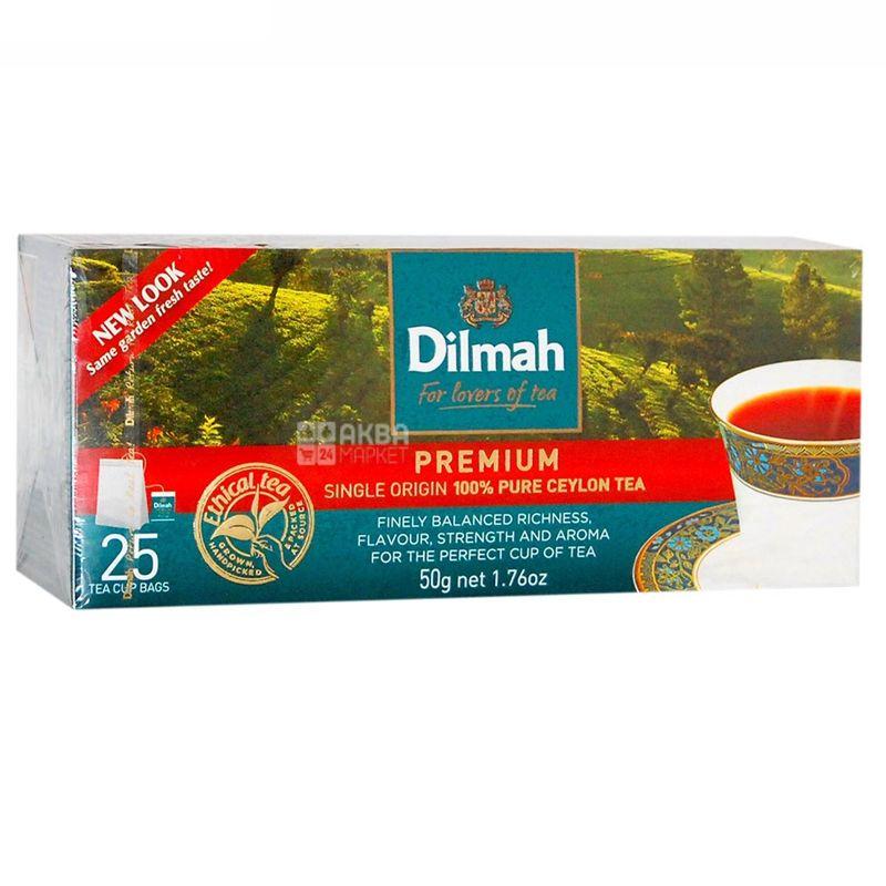 Dilmah, Premium, 25 пак., Чай Ділма, Преміум, чорний