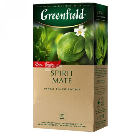 Greenfield, Spirit Mate, 25 пак., Чай Гринфилд, Спирит Метэ,  травяной со вкусом лайма и мяты