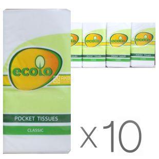 Ecolo, Упаковка 10 пачек по 9 шт., Платочки носовые бумажные Эколо, 2-х слойные, Белые