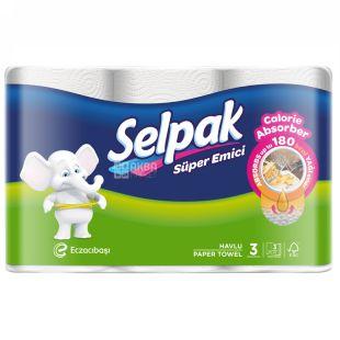 Selpak Super Emici, Рушники кухонні тришарові, 3 рулона