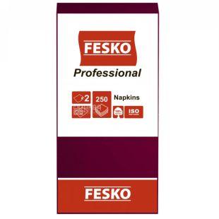 Fesko Professional, 250 шт., Салфетки столовые Феско Профешнл, 2-х слойные, 33x33 см, бордовые