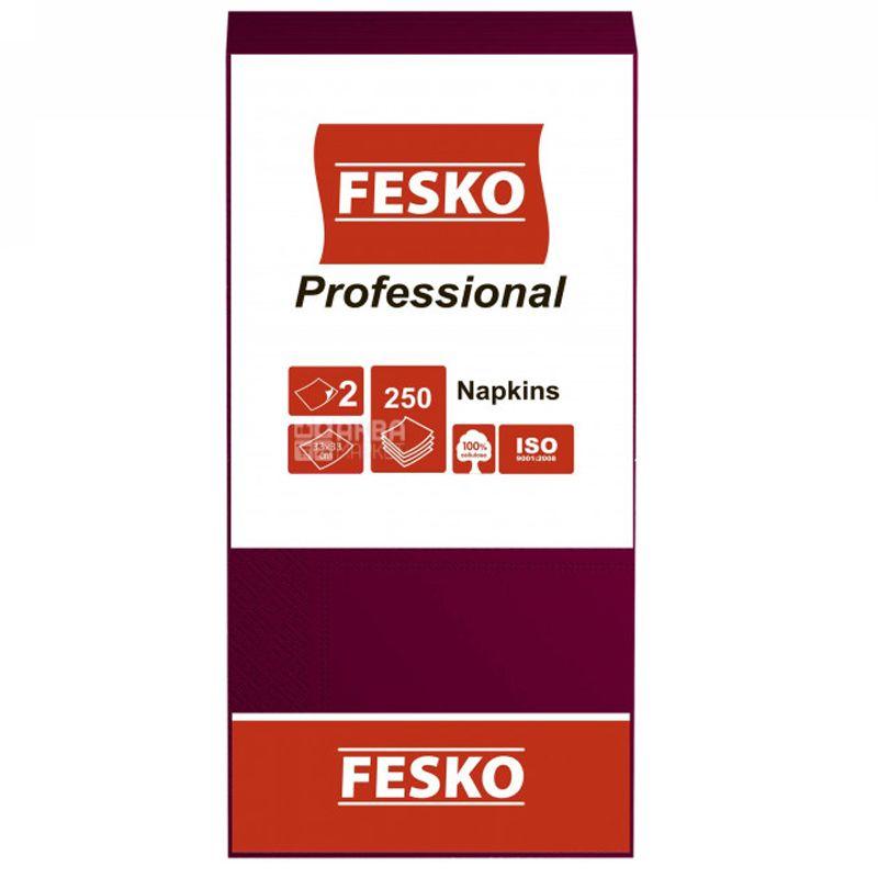 Fesko Professional, 250 шт., Серветки столові Феско Профешнл, 2-х шарові, 33x33 см, бордові