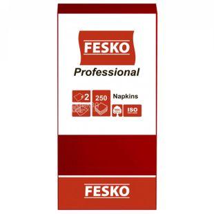 Fesko Professional, 250 шт., Серветки столові Феско Профешнл, 2-х шарові, 33x33 см, червоні