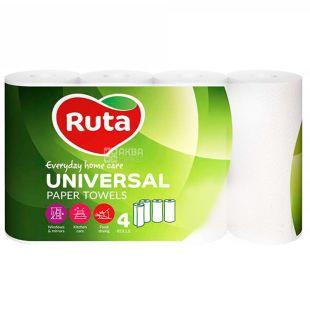 Ruta Universal, 4 рул., Бумажные полотенца Рута Универсал, 2-х слойные, 58 отрывов