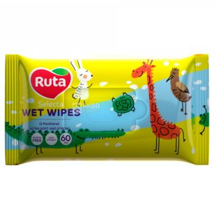 Ruta Selecta Funny animals, Wet wipes with aloe extract, 60 pcs.