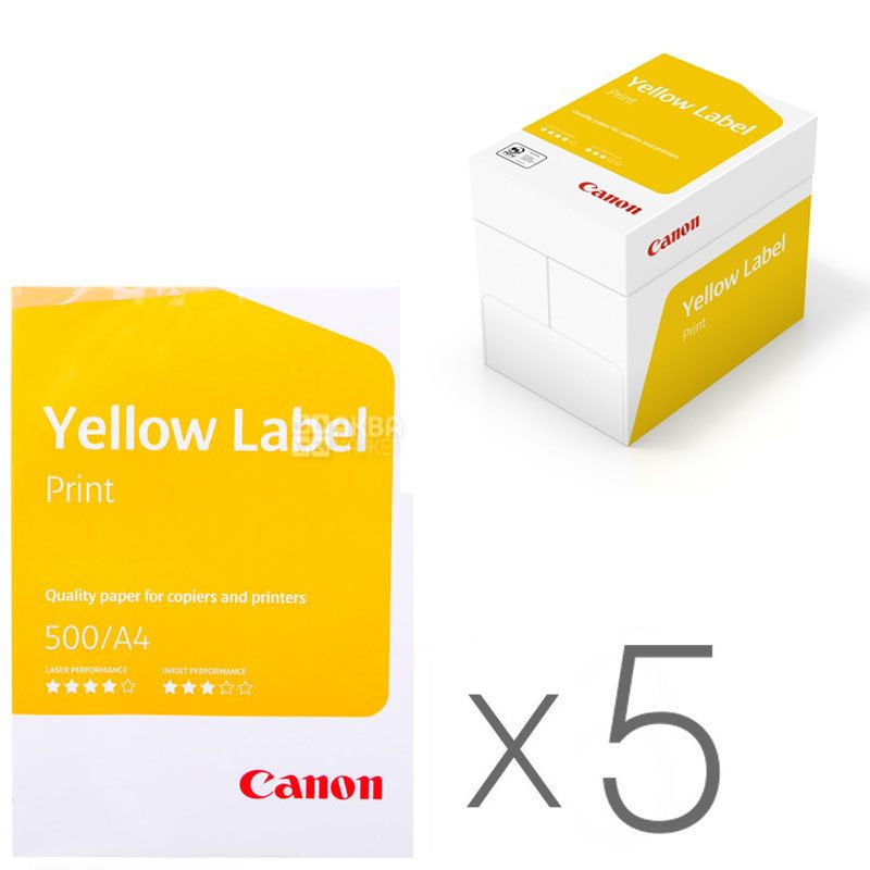 Canon Yellow Label Print, Бумага офисная белая А4, 80 г/м2, 500 л.*5 шт., м/у