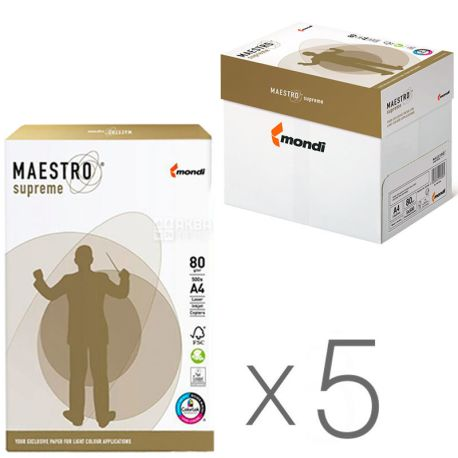 Maestro Supreme, Бумага офисная белая А4, 80 г/м2, 500 л.*5 шт., м/у