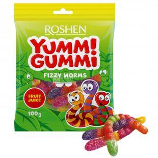 Roshen Yummi Gummi Fizzy Worms, Конфеты желейные, 100 г, м/у