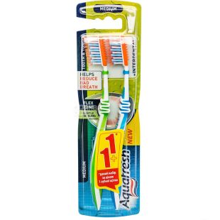 Зубна щітка Aquafresh + Interdental для зубів і язика 1 + 1, середньої жорсткості