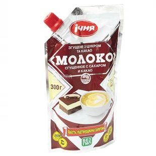 Echnya, Condensed milk with sugar and cocoa, 7.5%, 300 g, doy-pack