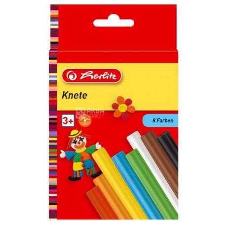 Herlitz, Plasticine for modeling colored, 8 pcs., 160 g, cardboard