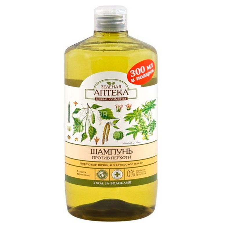 Зеленая аптека, 1 л, шампунь от перхоти, Березовые почки и касторовое масло, ПЭТ