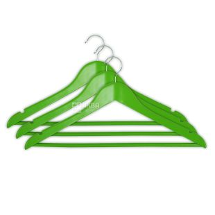 Мій Дім вішалка с нарізами зелена, 44,5*23*1,2 см., 3 шт.