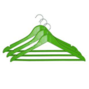 Мой Дом вешалка с нарезами зеленая, 44,5*23*1,2 см., 3 шт.