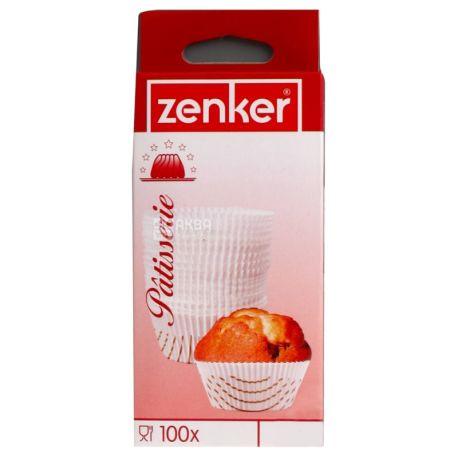 Zenker, Формочки бумажные для кексов белые, 70 мм, 100 шт, картон