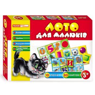 Обучающая игра, Ранок Лото для дітей. Букви, цифри, кольори та геометричні фігури