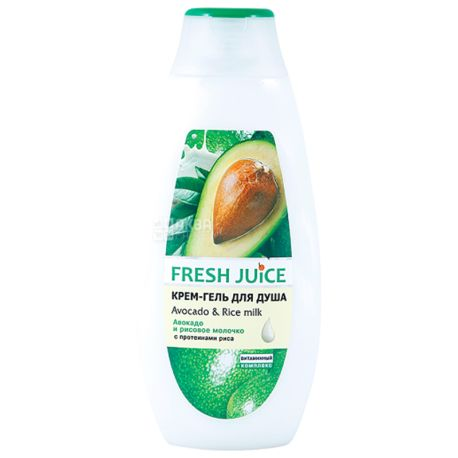 Fresh Juice Avocado&Rice milk, Крем-гель для душа, 400 мл