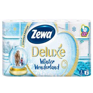Zewa Delux Winter Wonderland, 8 рул., Туалетний папір Зева Делюкс, Зимова Колекція, 3-х шаровий