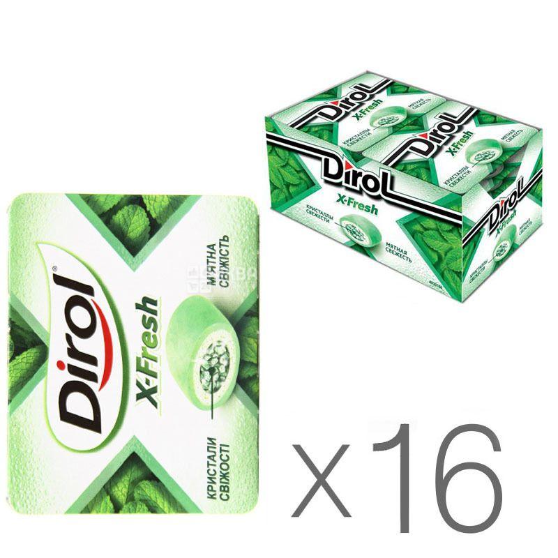 Dirol X-Fresh Мятная свежесть, жевательная резинка, 18 г, упаковка 16 шт