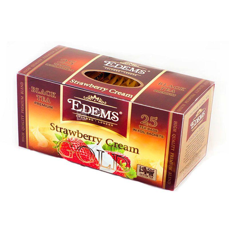 Edems Strawberry Cream Gold Чай черный пакетированный, 25 шт по 2 г