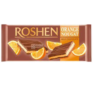 Roshen, Шоколад молочный с апельсиновой нугой, 90г, м/у