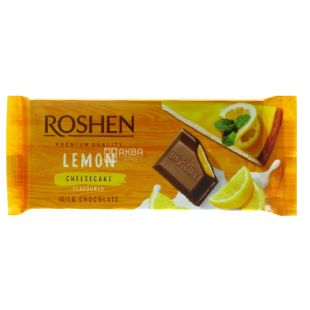 Roshen, Шоколад молочный с начинкой лимонный чизкейк, 90г, м/у