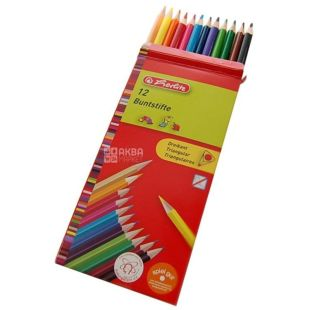 Herlitz Triangular, triangular drawing pencils, 12 colors, cardboard