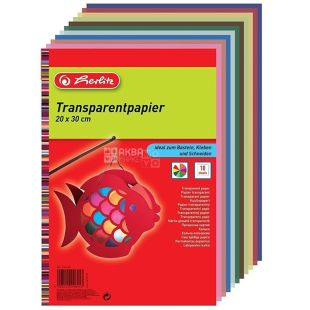 Herlitz, Папір кольоровий напівпрозорий, 20х30 см, 40 г/м2, 10 кольорів
