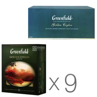 Greenfield, Golden Ceylon, 100 пак., Чай Грінфілд, Голден Цейлон, чорний, Упаковка 9 шт.