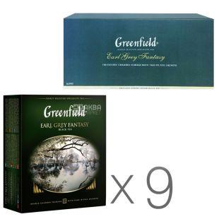 Greenfield, Earl Grey, 100 пак., Чай Грінфілд, Ерл Грей, чорний з бергамотом, Упаковка 9 шт.