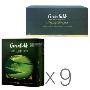 Greenfield, Flying Dragon,100пак., Чай Гринфилд, Флаинг Драгон, зеленый, Упаковка 9 шт.
