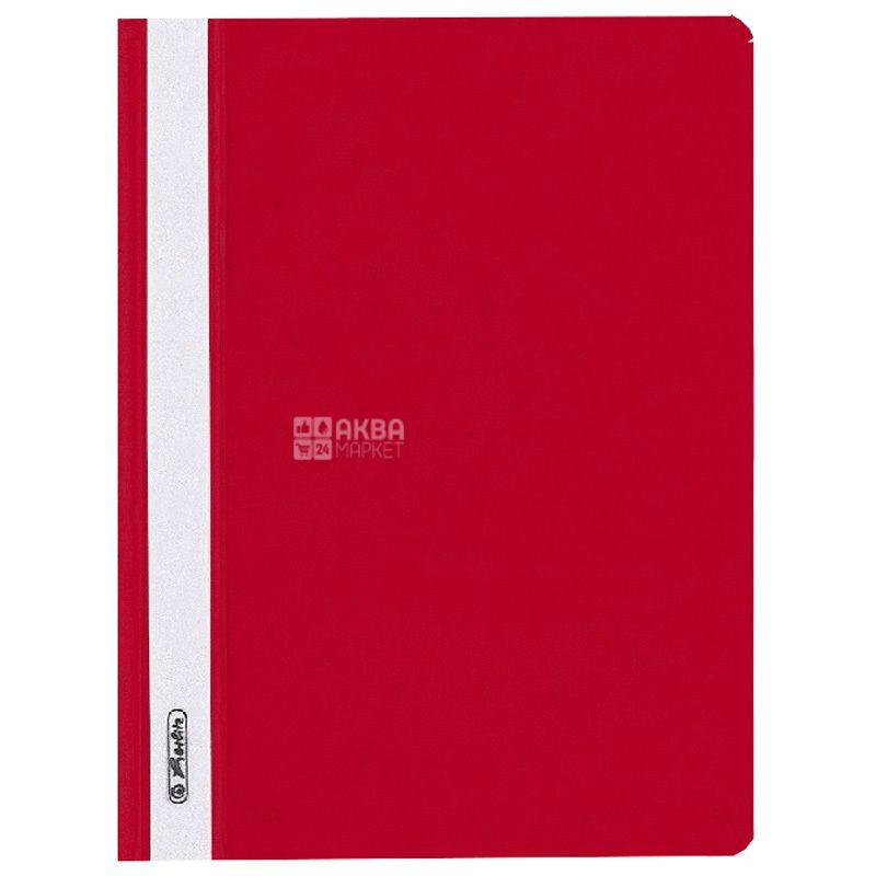 A5 folder folder, red with transparent top, Herlitz (Herlits), 130 / 160mkm