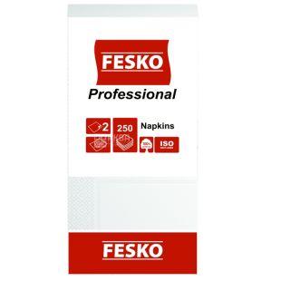 Fesko Professional, 250 шт., Серветки столові Феско Профешнл, 2-х двошарові, 33x33 см, білі