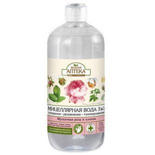 Зеленая Аптека, Мицеллярная вода 3 в 1, Мускатная роза и хлопок 500 мл