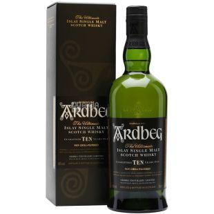 Виски Ardbeg 10 YO, выдержка 10 лет, крепость 46%, 0,7 л