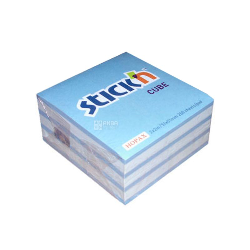Hopax Зебра, Блок клейкой бело-голубой бумаги, 50x50 мм, 250 листов