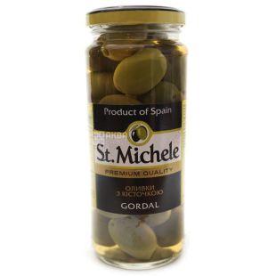 Оливки с косточкой, St. Michele, сорт Гордал, 340 г