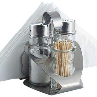Maestro Rainbow MR-1611, Набор солонка, перечница, держатель для зубочисток, салфеток, подставка, стекло, металл