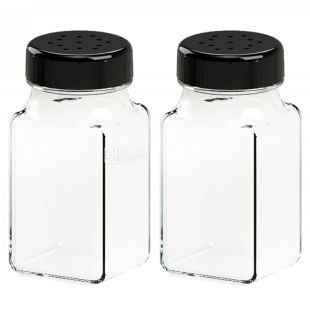 Everglass, Набір для спецій з чорною кришкою, 2 шт., 70 мл.