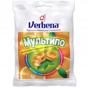 Verbena Multipo, Lollipops with orange filling and vitamins, 60 g