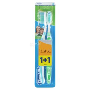 Зубна щітка Oral-B 3-Effect 1 + 1, натуральна свіжість, середньої жорсткості, 2 шт