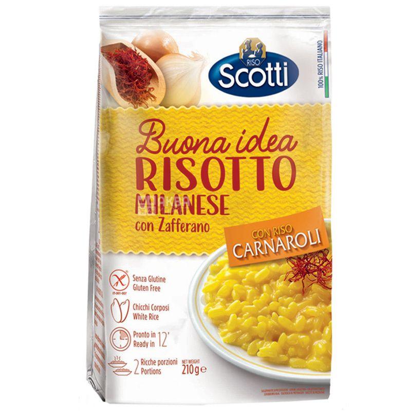 Scotti, Risotto, 210 г, Скотти, Смесь для ризотто, белый рис с шафраном
