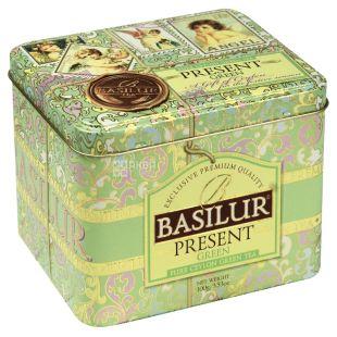 Basilur Present Green, 100 г, Чай Базилур, зеленый с фруктово-цветочным ароматом, подарочная упаковка, ж/б