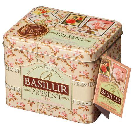Basilur Present Pink, 100 г, Чай Базілур, Рожевий подарунок, зелений зі шматочками фруктів, ж/б