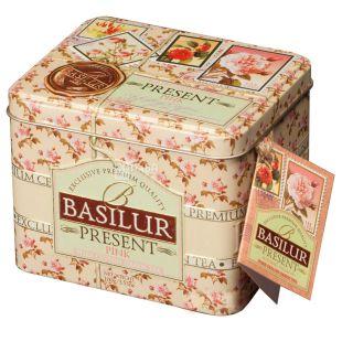 Basilur Present Pink, 100 г, Чай Базилур, Розовый подарок, зеленый с кусочками фруктов, ж/б
