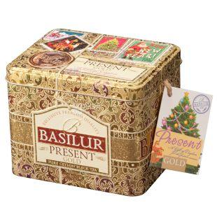 Basilur Present Gold, 100 г, Чай Базилур, Золотой подарок, черный с цветочным ароматом, ж/б