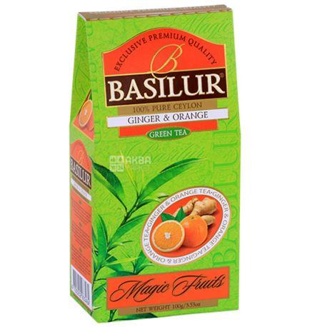 Basilur Ginger, Orange, 100 г, Чай Базілур, Імбир та апельсин, зелений
