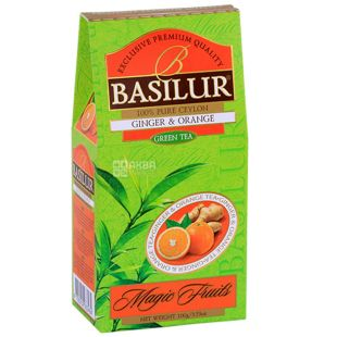 Basilur Ginger, Orange,100 г, Чай Базилур, Имбирь и апельсин, зеленый